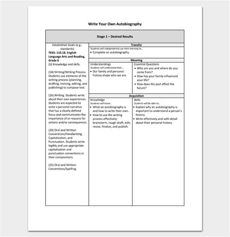 writing your own will template autobiography outline template 23 exles and formats
