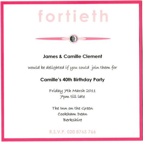 free 40th birthday invitations templates 40th birthday invitation wording wblqual
