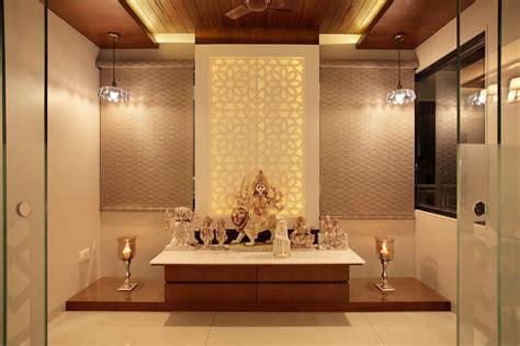 bhk flat interiors  oak woods pooja room design