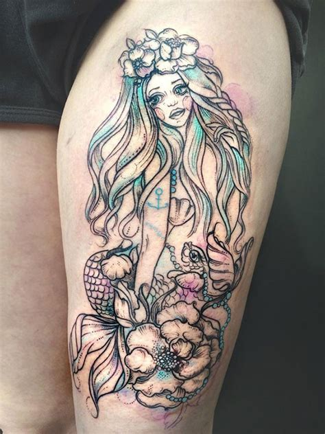 mermaid thigh tattoo great mermaid pictures tattooimages biz