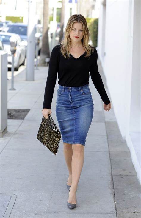 ali larter in a denim skirt in designer