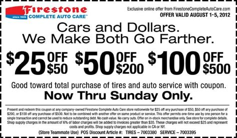 Car Tires Coupons Cars And Dollars We Make Both Go Farther 25 50 50
