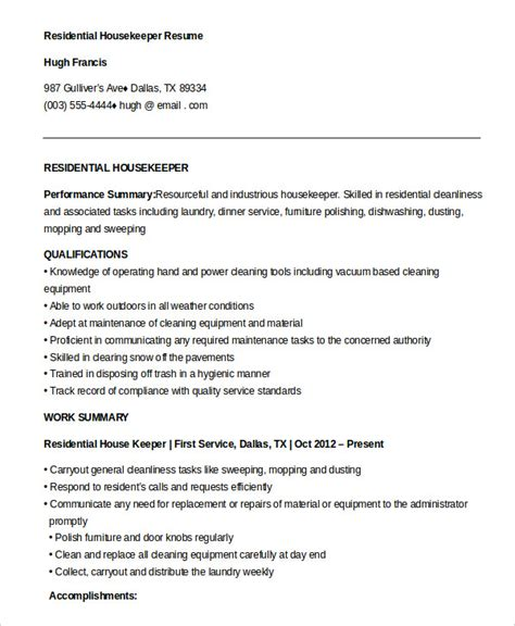 Residential Housekeeper Sle Resume by Housekeeping Manager Resume Sle 28 Images 28 Assistant Housekeeping Manager Resume