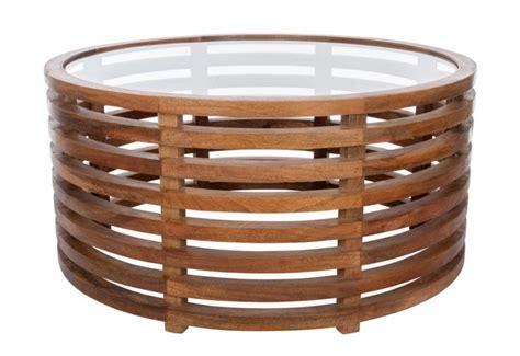 table basse ronde verre et bois table basse ronde exotique en bois brut et plateau en