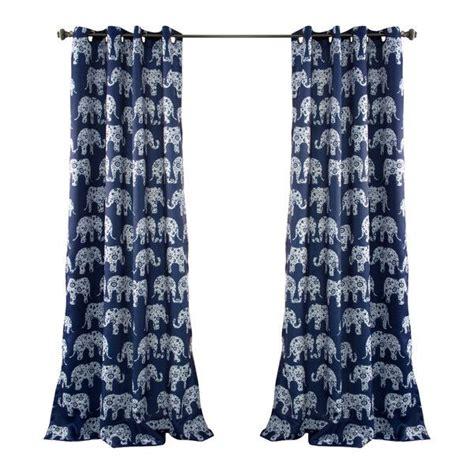 navy blue room darkening curtains navy blue elephant parade room darkening 84 inch curtain