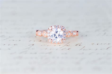 Vintage Verlobungsring by Gold Engagement Ring Cushion Cut Halo Ring By Mocharings