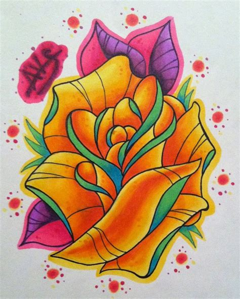 new skool rose tattoo by paintball0531 on deviantart
