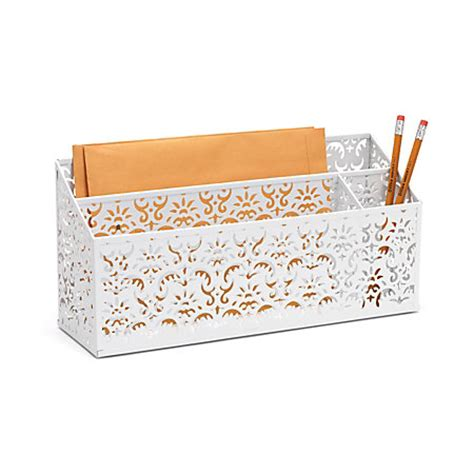 white metal desk organizer realspace brocade desk organizer white by office depot