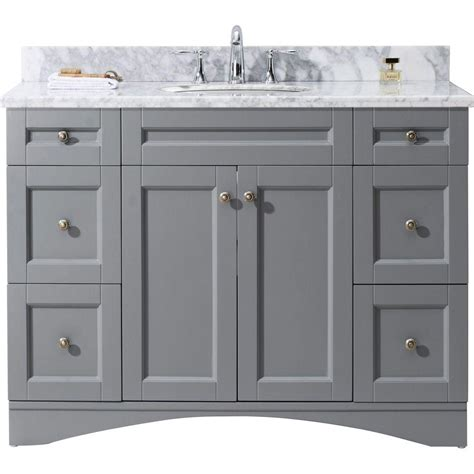 Grey Bathroom Vanity Cabinet Virtu Usa Elise 48 In W X 22 In D Vanity In Grey With Marble Vanity Top In White With White