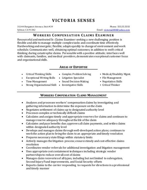 Claims Analyst Sle Resume by Resume Sle Workers Compensation Claims