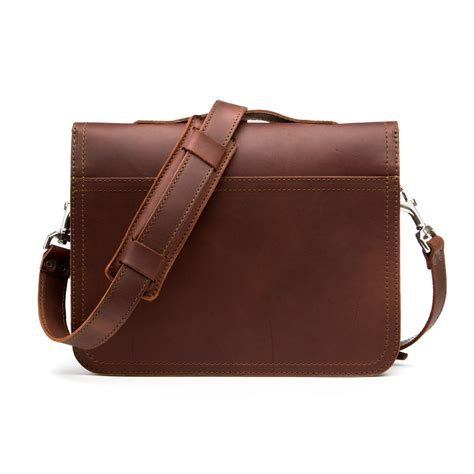 leather laptop bag in genuine grain leather