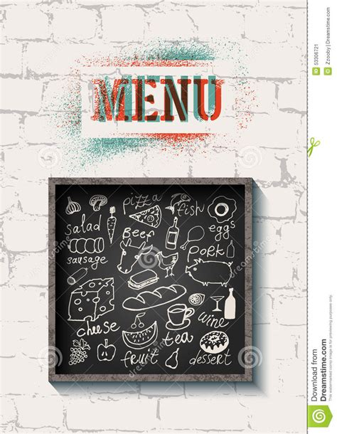 cafe wall menu design restaurant food menu design on the brick wall background