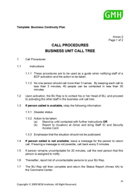 bcp call tree template call procedures and business unit call tree bcmpedia a