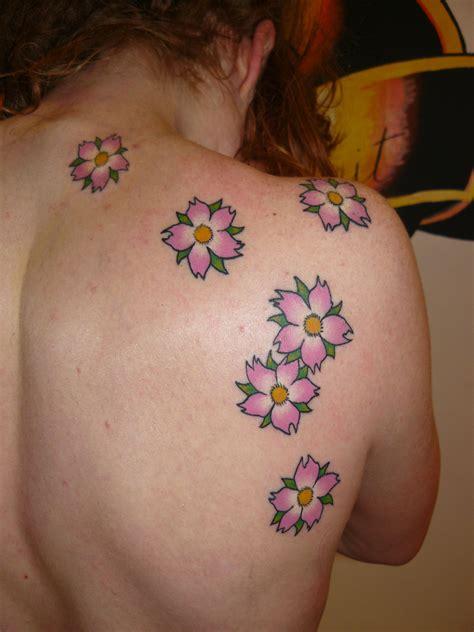 cherry blossom flower back tattoo