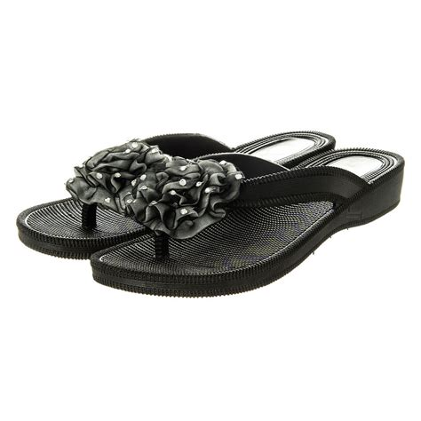 flip flop wedge sandals low wedge jelly flip flop sandal with ruffled flower