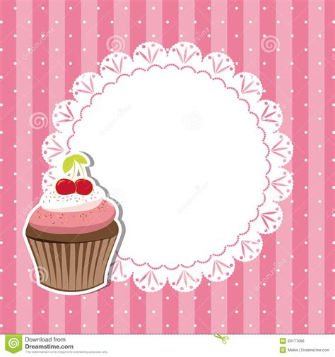 Cherry Cupcake Invitation Card Royalty Free Stock Image   Image: 24177066