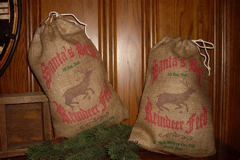 how to geed burlap in a christmas 6 burlap feed sack reindeer bags santa s best by feedsacklady