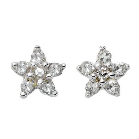 9ct white gold flower stud earrings ernest jones
