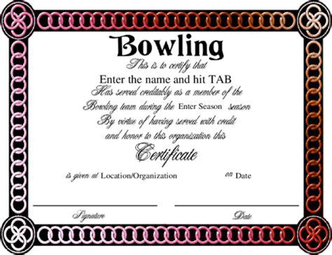 bowling certificate template free award certificate templates