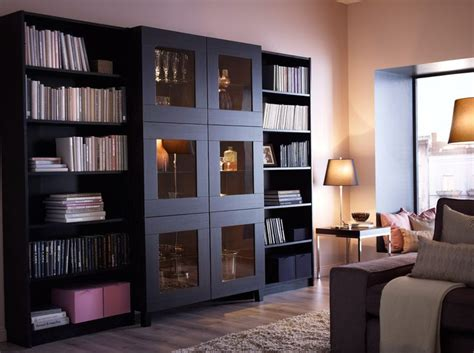 besta glass doors best 197 cabinet with tempered glass doors and billy bookcases all in black brown i