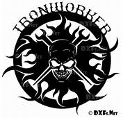 DXF173  Ironworker Skull Silhouette CNC DXF Download