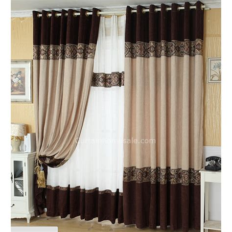 Sliding Door Valance Top Grade Chenille Coffee And Beige Color Jacquard