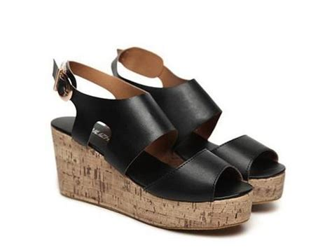 comfortable small wedges sandals cz 0470 black in hangzhou