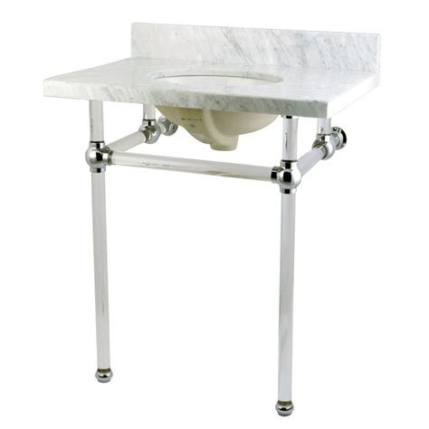 marble pedestal sink vanity fauceture kvpb30ma1 templeton carrara marble bathroom
