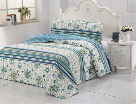 Quality Quilts And Coverlets 3pcs High Quality Fully Quilted Embroidery Quilts