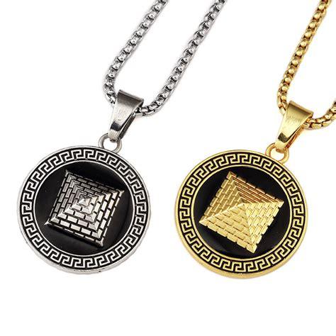 ᓂhip hop gold color ancient pyramid necklace