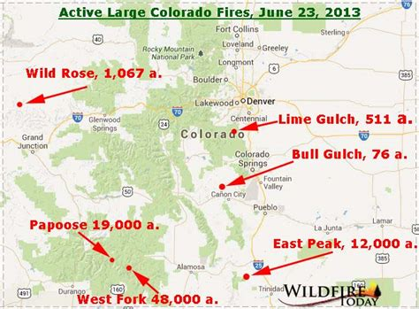 map of current wildfires in colorado map of wildfires in colorado june 23 2013 wildfire today