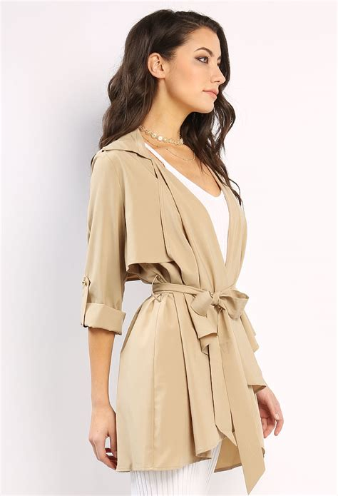 Shopping Doori Trench Coat Dress by Belted Drapey Trench Coat Shop At Papaya Clothing