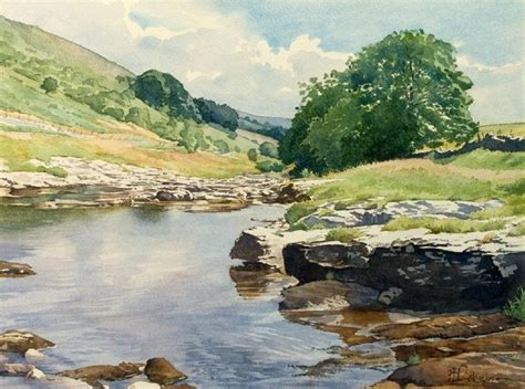 watercolor river tutorial upper reaches river wharfe watercolor by brian robinson