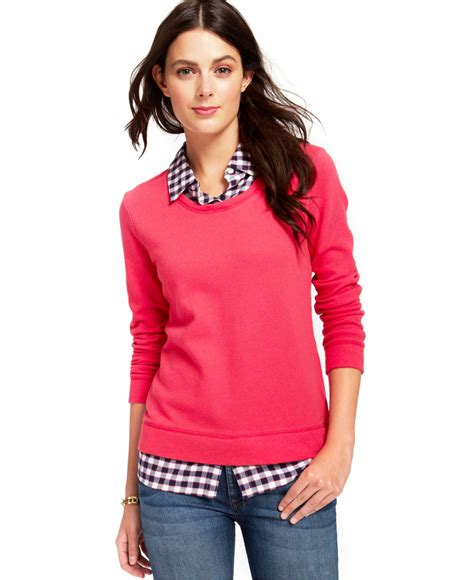 Pink Two Color Sweater Kk406 hilfiger plaid layered shirt sweater in pink lyst