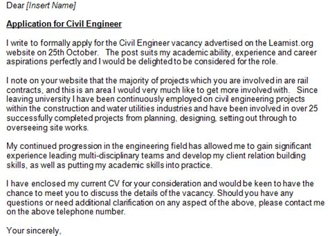 application letter for a civil engineer civil engineer cover letter exle learnist org