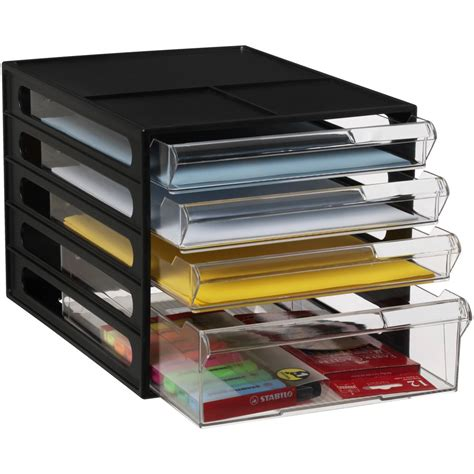 4 Drawer Organizer by J Burrows Desktop File Storage Organiser 4 Drawer Black Ebay