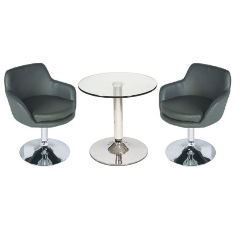 Glass Bistro Table And 2 Chairs Belize Glass Bistro Table In Clear And 2 Grey Bucketeer