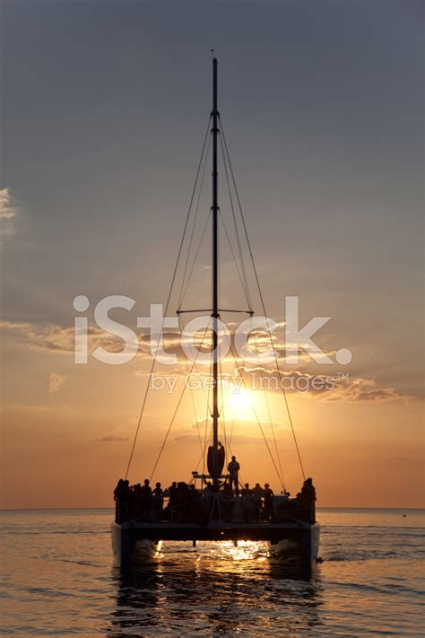 catamaran booze cruise negril jamaica catamaran sunset cruise in the caribbean stock photos