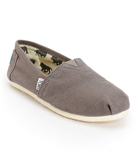 toms classics canvas ash slip on womens shoes