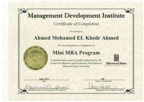 Certifications For Mba Hr by Ahmedkhedr Mini Mba Certificate