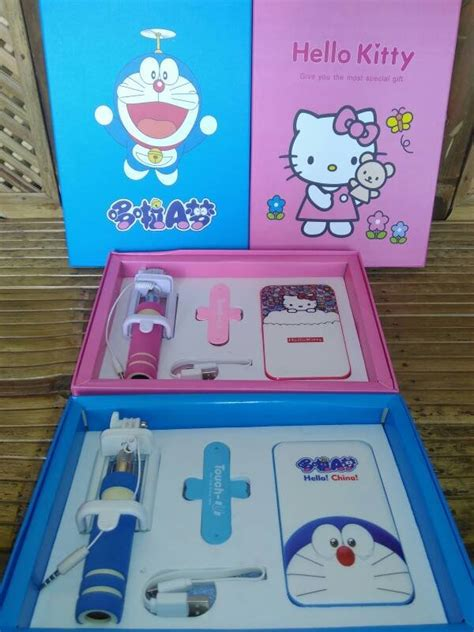 Paket Kado Satu Set Power Bank Doraemon Tongsis jual doraemon powerbank gift set tongsis kabel terjual