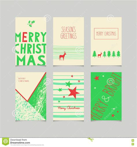 set of decorative christmas cards stock vector image