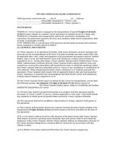 Contra Agreement Template owner operator lease agreement sample form free download