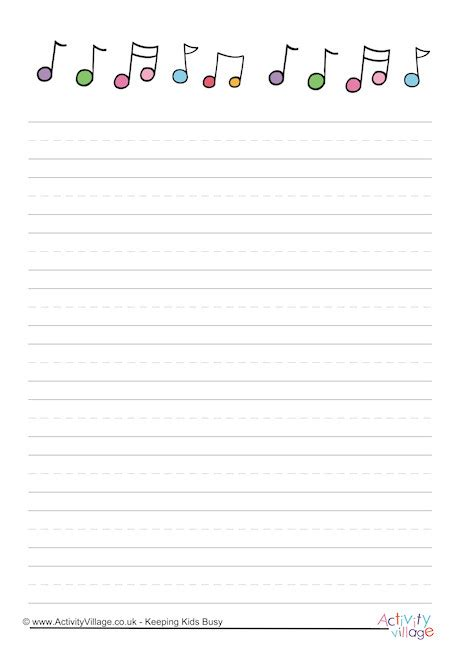 lined paper with music border music notes writing paper