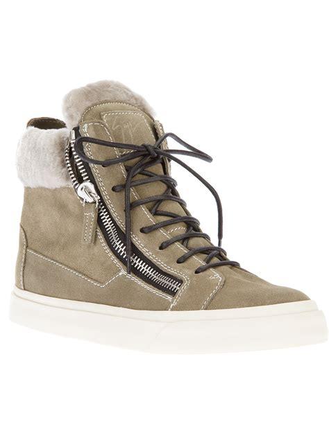 giuseppe shoes giuseppe zanotti zip detail hitop sneakers in gray silver