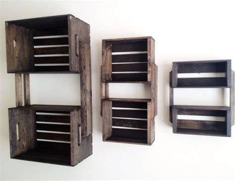 Wall Hanging Wooden Shelves Brown Wooden Crate Wall Hanging Shelf Units By Cl Decor