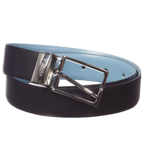 armani boys blue leather reversible belt children