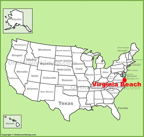 map usa beaches virginia location on the u s map
