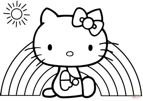 hello kitty coloring pages only hello kitty rainbow coloring page free printable