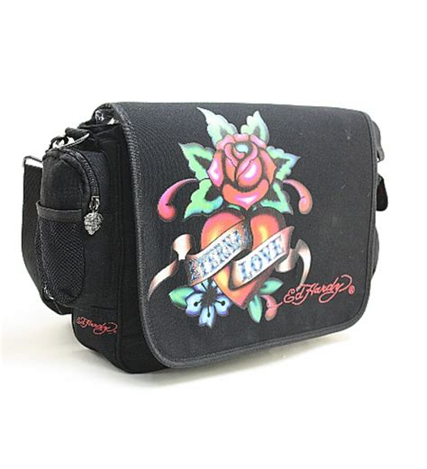 ed hardy leo eternal black messenger bag by ed hardy